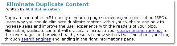 Eliminate Duplicate Content Excerpt